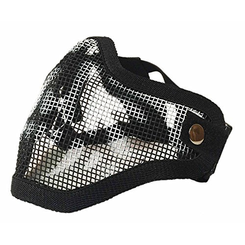 Sizet Airsoft Mask 2 Sizet Airsoft Skull Steel Mesh Half Face Mask Protector (Black)