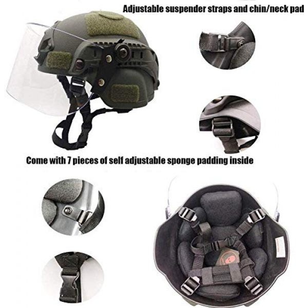 LEJUNJIE Airsoft Helmet 4 LEJUNJIE Tactical MICH 2000 Fast Helmet with Clear Riot Visor Face Shield Sliding Goggles for Airsoft Paintball CS War Games Outdoor Sports.
