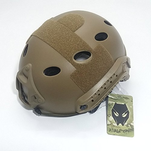 ATAIRSOFT Airsoft Helmet 3 ATAIRSOFT PJ Type Tactical Multifunctional Fast Helmet with Visor Goggles Version DE