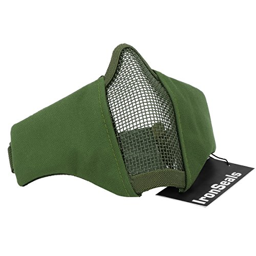 """IronSeals Airsoft Mask 1 IronSeals Foldable 6"""" Half Face Mask Mesh Adjustable Tactical Lower Face Protective Mask for Airsoft/Hunting/Paintball/Shooting"""