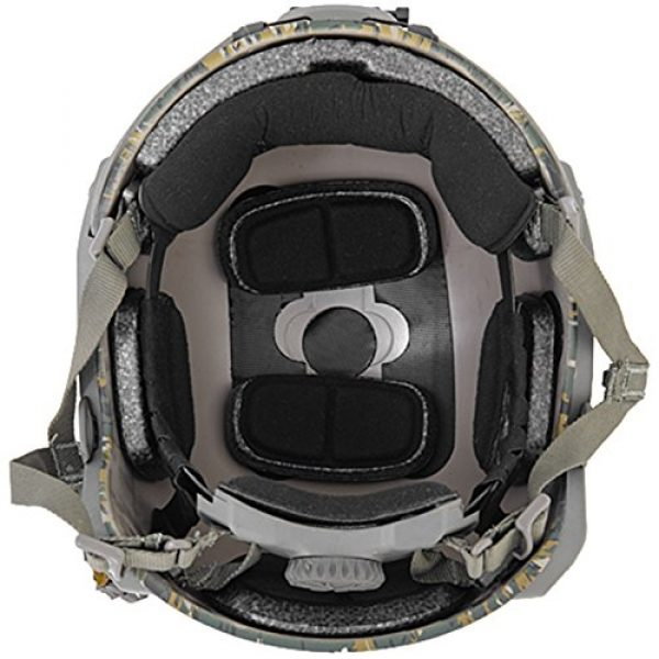 Lancer Tactical Airsoft Helmet 3 Lancer Tactical Medium - Large Industrial ABS Plastic Constructed Maritime Helmet Adjustable Crown 20mm Side Rail Adapter Velcro Padding Stickers NVG Shroud Bungee Retention - Woodland Camouflage