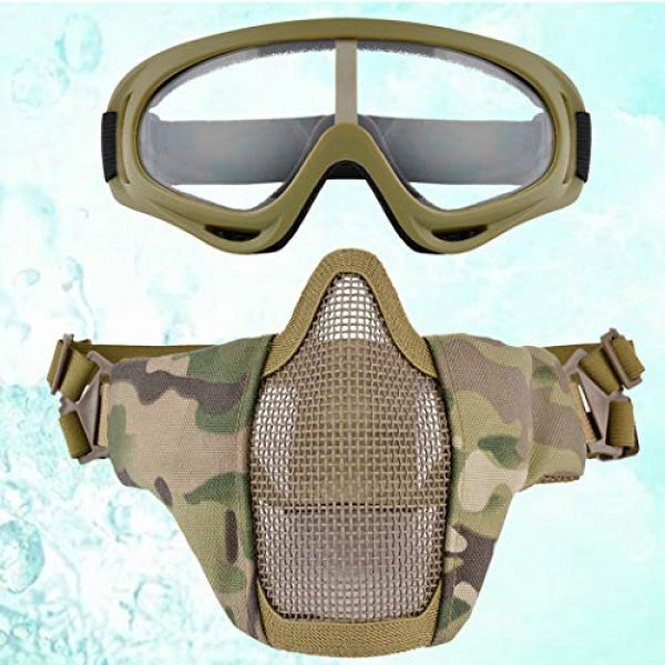 Lower Half Face Mesh Masks Foldable Steel mesh mask Airsoft Protective Mask with Goggles Set for Hunting