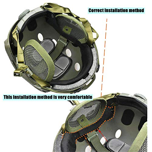 JFFCESTORE Airsoft Helmet 4 Tactical Airsoft Military Paintball Metal Mesh Side Cover with Ear Protection for FAST Helmet (Not including helmet)