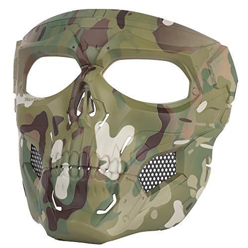 NINAT Airsoft Mask 2 NINAT Airsoft Masks Full Face Skull Tactical Mask with PC Lens Eye Protection for CS Survival Games BBS Gun Shooting Halloween Cosplay Movie Props Scary Masks