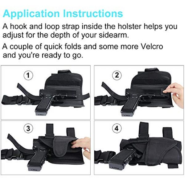 XAegis  7 XAegis Drop Leg Holster for Pistols Tactical Thigh Rig Gun Holster with Magazine Pouch Adjustable Right Handed