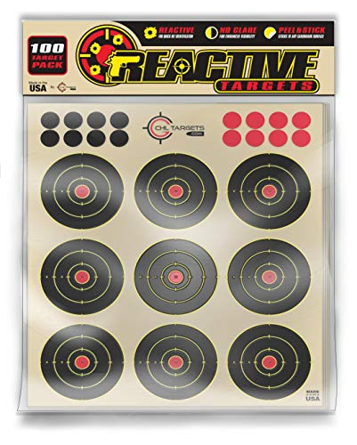 """CHLTargets.com Airsoft Target 4 Reactive Targets (Peel-and-Stick - Adhesive Target) 3"""" Bulls Eye 9-Up Target - Biggest Reactive/Splatter Effect Providing Visual Feedback & Easy Hit Identification 10"""" H x 11"""" W"""