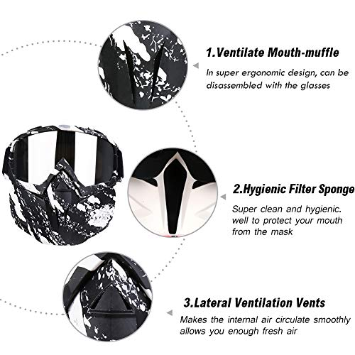 PiscatorZone Airsoft Mask 5 PiscatorZone Motorcycle Goggles Mask CS/Paintball/Skiing/Riding/Cycling/Halloween/Costume Ball-UV Proof Windproof Anti-Fog Protective Detachable Adjustable Tactical Glasses