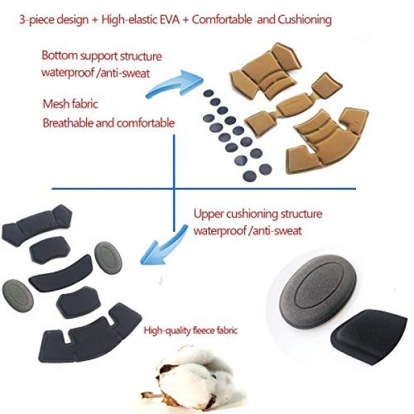 Supspy Airsoft Helmet 3 Tactical Airsoft Helmet Pads FMA Internal Foam Protective Cushion Accessories Liner System for Fast MT MICH IBH AF ACH Outdoor Paintball Helmet