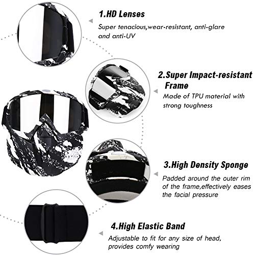 PiscatorZone Airsoft Mask 4 PiscatorZone Motorcycle Goggles Mask CS/Paintball/Skiing/Riding/Cycling/Halloween/Costume Ball-UV Proof Windproof Anti-Fog Protective Detachable Adjustable Tactical Glasses