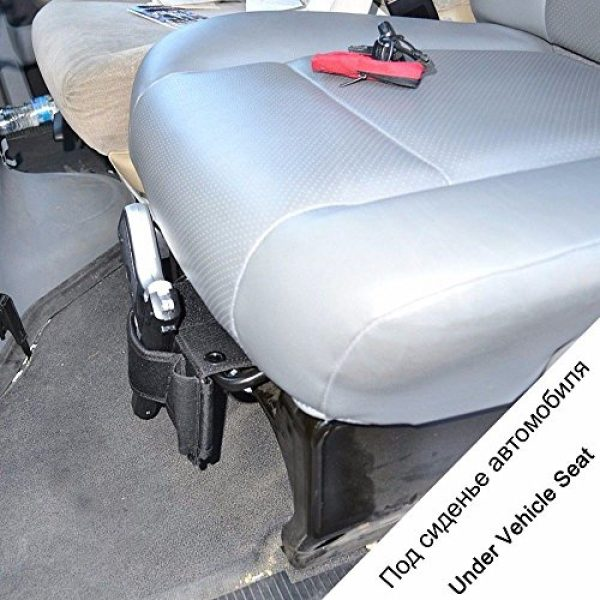EXPLORER JINJULI  7 Explorer Adjustable Under Mattress Pistol Holster Car Seat Desk Closet Gun Handgun Holster with Flashlight Loop Concealed Under Mattress Bed Side Pistol Holster Car Truck Seat Closet Gun Holster
