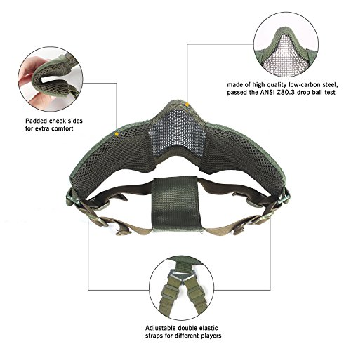 Unigear Airsoft Mask 2 Unigear Half Face Lower Mask Foldable Mesh Adjustable Tactical Metal Steel Mask for Airsoft/Hunting/Paintball/Shooting