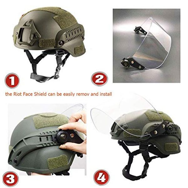 Will Outdoor Airsoft Helmet 4 Lightweight Quick-Protection Helmet Mich 2000 with Anti-Riot Sunshade Sliding Goggles and Side Rail NVG Bracket.