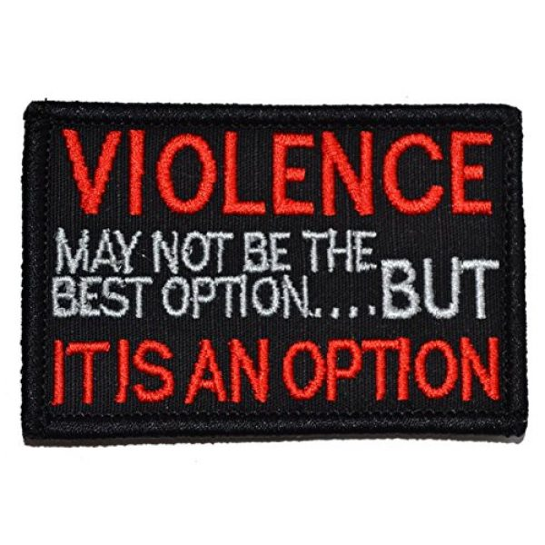 Tactical Gear Junkie Airsoft Patch 1 Violence, May not be The Best Option, but IT is an Option 2x3 Morale Patch - Black with Red