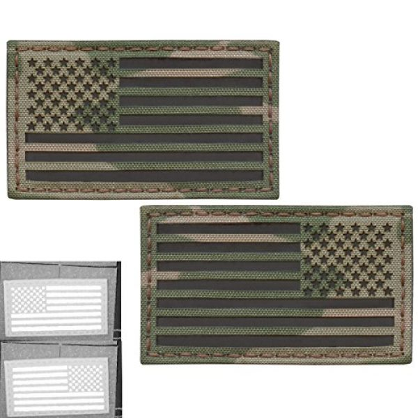 Tactical Freaky Airsoft Morale Patch 1 Bundle Set of 2 Multicam Infrared IR USA American Flags Forward and Reversed 3.5x2 Morale Fastener Patches