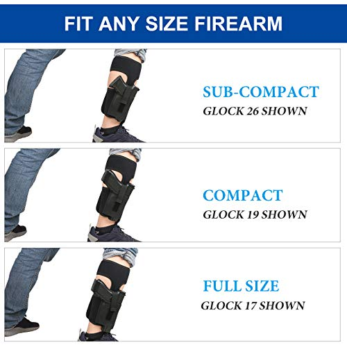 XAegis  2 XAegis Ankle Holster with Calf Strap and Spare Magazine Pouch Comfortable Conceal Carry Holster for Small or Medium Gun Frame with Length Less 7 inches