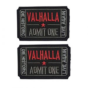 Homeigo Airsoft Patch 1 Homiego Ticket to Valhalla Admit One Die Historic Live Again Tactical Morale Badge Hook & Loop Patch (Black)