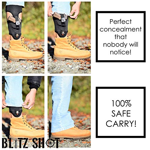 BlitzShot Ankle Holster  2 Ankle Holster for Concealed Carry Universal Ankle Holster for Men and Women 2xStronger Velcro Adjustable Ankle Holster for Glock 43 42 36 26 19