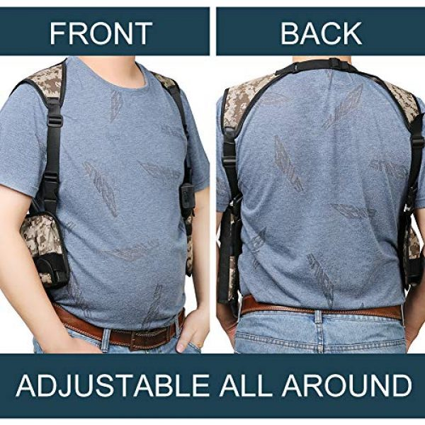 TW TWOD  6 Twod Shoulder Holster Ambidextrous Vertical Concealed Carry Shoulder Holster with Dual Magazine Holder Fits Most Pistols or Handgun