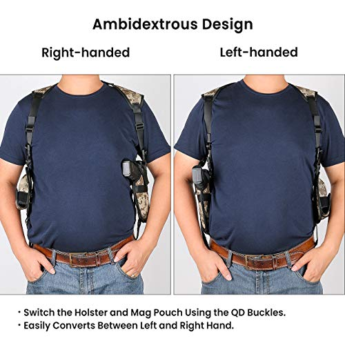 Feyachi  3 Feyachi Universal Shoulder Holster with Dual Mag Pouch Camo Ambidextrous Gun Shoulder Fits Most Pistols & Revolvers for Men and Women