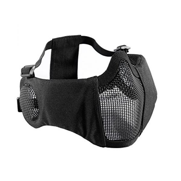 """OneTigris Airsoft Mask 1 OneTigris 6"""" Foldable Half Face Airsoft Mesh Mask with Ear Protection"""