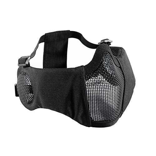 "OneTigris Airsoft Mask 1 OneTigris 6"" Foldable Half Face Airsoft Mesh Mask with Ear Protection"