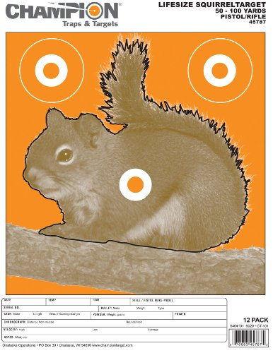 Champion Traps and Targets Airsoft Target 1 Champion Animal Paper Squirrels Target - Pack of 12