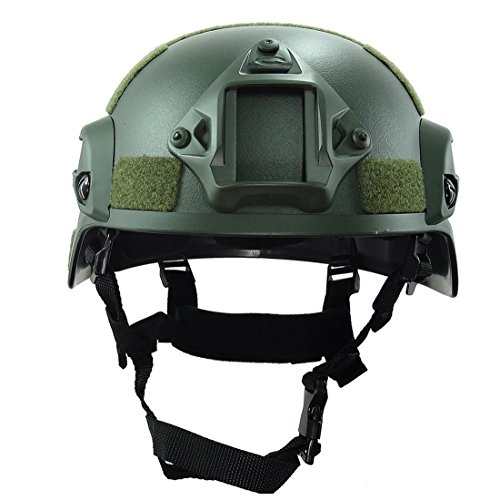 ATAIRSOFT Airsoft Helmet 4 ATAIRSOFT Tactical Airsoft Paintball MICH 2000 Helmet with Side Rail & NVG Mount