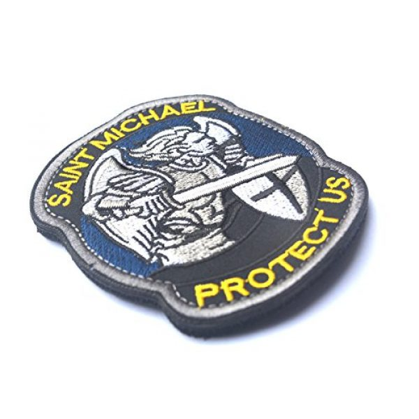 Zhikang68 Airsoft Patch 4 Saint Michael Modern Morale Patch Tactical Military Army Embroidered Sew on Tags Operator Patches with Hook and Loop Fasteners Backing-Multitan (Blue)