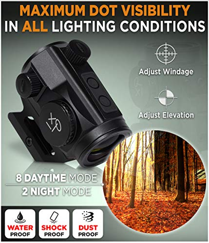 CREATIVE XP Airsoft Gun Sight 2 CREATIVE XP CreativeXP HD Red Dot Sight 3 MOA Tactical Reflex Sight for Day & Night Time Easy to Zero on a Rifle - Picatinny Rail Mount
