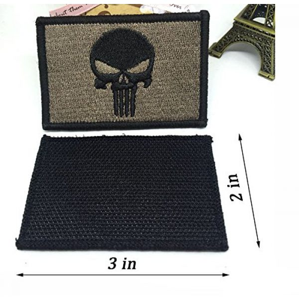 TOWEE Airsoft Patch 3 US Flag Patches, TOWEE 6 Pack American Flag USA Flags Punisher Patches Tactical Tags Patch Military Patch Embroidered Border America Military Uniform Emblem Morale Patches