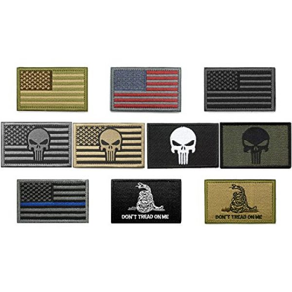 Fnbgl Airsoft Patch 4 Bundle 10 Pieces US Flag Velcro Patch American Flag Punisher Velcro Patches Tactical Military Morale Patch Set