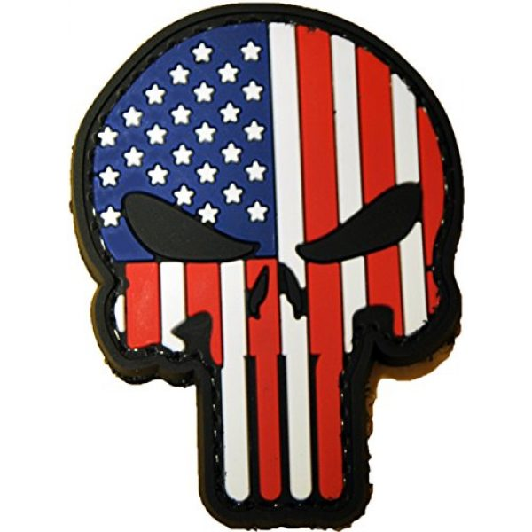 Tactical Morale Gear Airsoft Patch 1 Punisher Skull American Flag Morale Patch