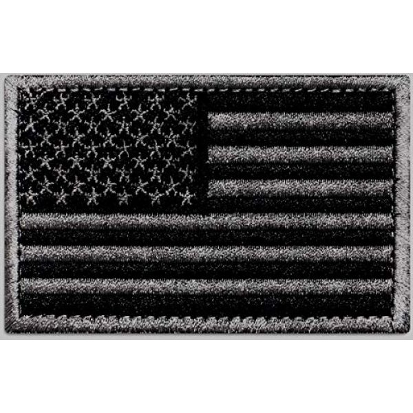 Ever Craft Airsoft Morale Patch 1 Ever Craft Morale American Flag Patch - Heavy Duty for Tactical Gear or USA Military Uniform - Premium Hook and Loop Tactical Patches for Backpacks Caps Hats Jackets Pants (Black & Gray)