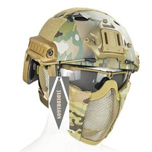 Jadedragon Airsoft Helmet 1 Jadedragon PJ Tactical Fast Helmet & Protect Ear Foldable Double Straps Half Face Mesh Mask & Goggle