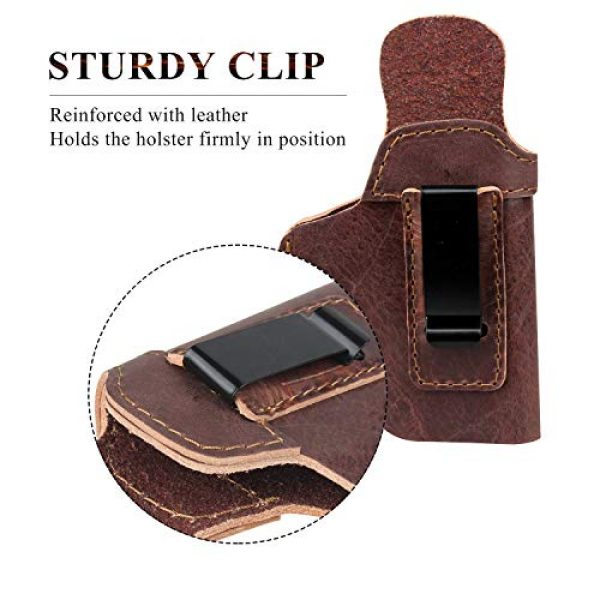 Ree Handmade  7 Ree Handmade Glock 26 IWB Holster Concealed Carry Natural Water Buffalo Hide Soft Sided Leather