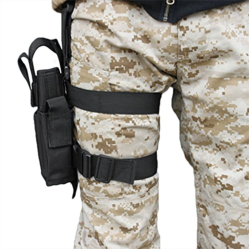 LIVEBOX  3 LIVEBOX Military Tactical Drop Leg Thigh Gun Holster Bag Adjustable Right Leg Handgun Holster Pouch for Airsoft Paintball Hunting Gun Training