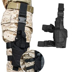 LIVEBOX  1 LIVEBOX Military Tactical Drop Leg Thigh Gun Holster Bag Adjustable Right Leg Handgun Holster Pouch for Airsoft Paintball Hunting Gun Training