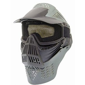 PForce Airsoft Mask 1 PForce Paintball/Airsoft Adjustable Full Face Tactical Safety Mask with Metal Mesh Wire Eye Protection; Protecting Chin/Ears; Top Visor for Shade; Also Good for CS Game