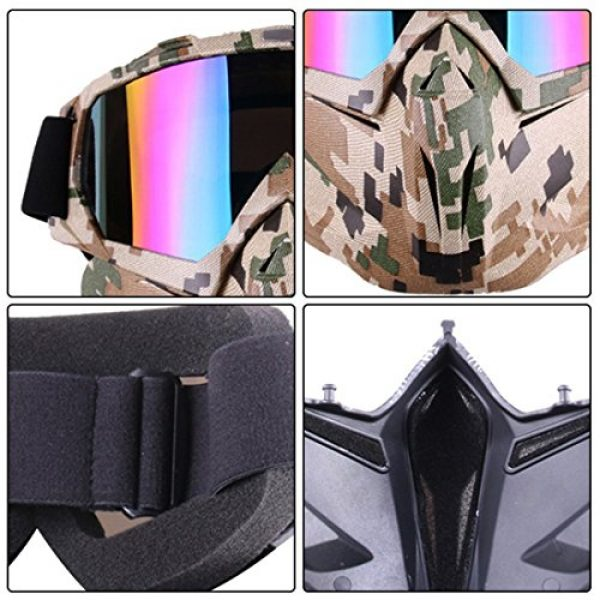 Outamateur Airsoft Mask 5 Outamateur Motorcycle Goggles Mask - Tactical Glasses with Detachable Mask Adjustable Windproof Outdoor Paintball Airsoft Mask Face Shield for Kids Youth Men Women