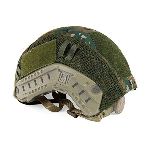 ATAIRSOFT Airsoft Helmet 7 ATAIRSOFT Airsoft Tactical Military Combat Helmet Cover for PJ/BJ/MH Type Fast Helmet Back Pouch (DW)