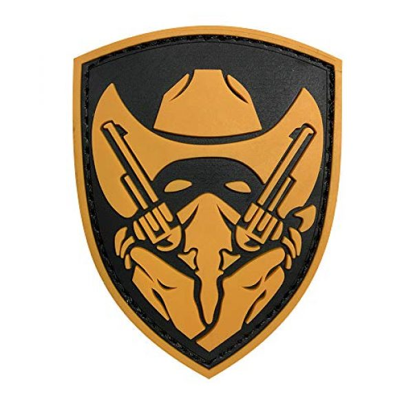 Morton Home Airsoft Patch 1 Morton Home Masked Cowboy Gunfighter Tactical Army Morale Airsoft 3D PVC Patch (Yellow)