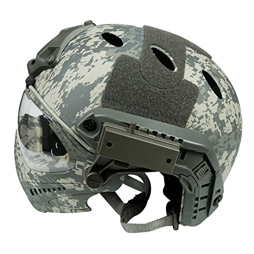 LEJUNJIE Airsoft Helmet 3 LEJUNJIE PJ Tactical Fast Helmet & Full-Covered Military Protective Army Combat Airsoft Paintball Helmet Protect Ears with Mask Goggle