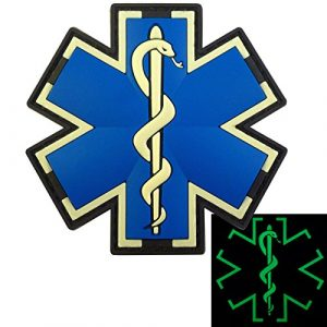 LEGEEON Airsoft Patch 1 LEGEEON Glow Dark EMS EMT Medic Paramedic Star of Life Morale Tactical PVC 3D Hook-and-Loop Patch