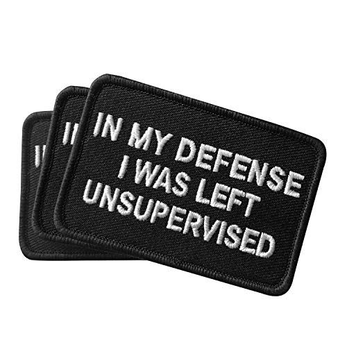 Ebateck Airsoft Patch 1 2 Pack in My Defense I was Left Unsupervised Patch - Embroidered Morale Patches Tactical Funny for Hat