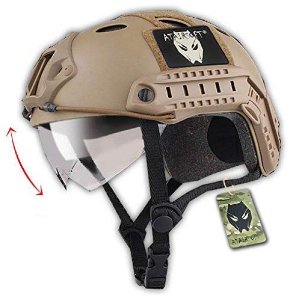ATAIRSOFT Airsoft Helmet 1 ATAIRSOFT PJ Type Tactical Multifunctional Fast Helmet with Visor Goggles Version DE