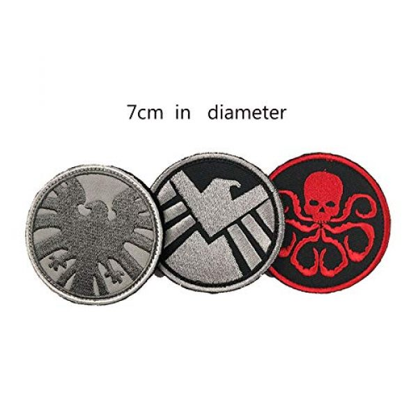 Acbell Airsoft Morale Patch 2 Marvel Comics Tactical Military Morale Embroidered Patch Shield/Avengers/Hydra Cloth Applique Hook and Loop Badge Morale Patch 3 Pieces