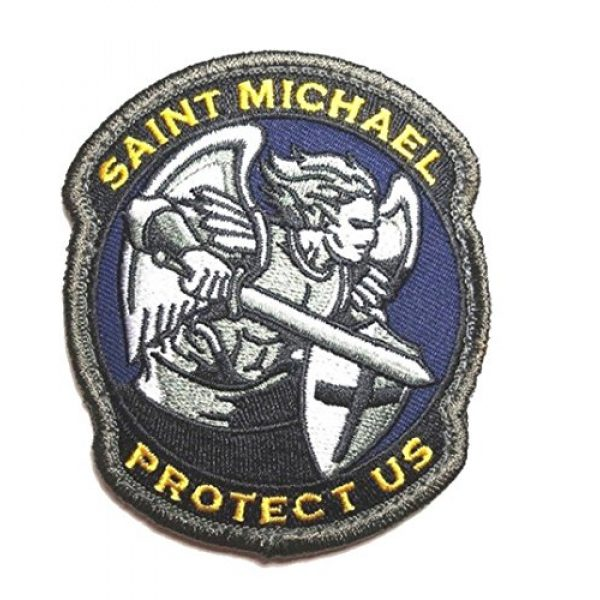 Zhikang68 Airsoft Patch 1 Saint Michael Modern Morale Patch Tactical Military Army Embroidered Sew on Tags Operator Patches with Hook and Loop Fasteners Backing-Multitan (Blue)