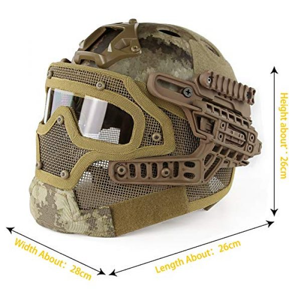 ActionUnion Airsoft Helmet 2 ActionUnion PJ Fast Tactical Helmet Airsoft Full Face Mask with Goggles Molle Mesh Breathable Eye Protection for Military CS Paintball Shooting Hunting Cycling Motorcycle Outdoor Sport-at