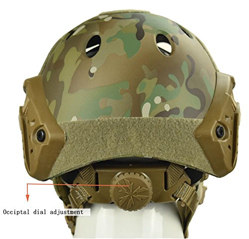 Jadedragon Airsoft Helmet 4 Jadedragon PJ Tactical Fast Helmet & Protect Ear Foldable Double Straps Half Face Mesh Mask & Goggle