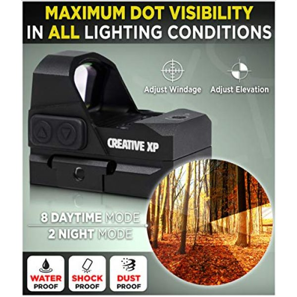 CREATIVE XP Airsoft Gun Sight 3 CREATIVE XP HD Red Dot Sight 3 MOA Tactical Reflex Sight for Day & Night Time Easy to Zero on a Glock or Rifle - Glock Mount Plate